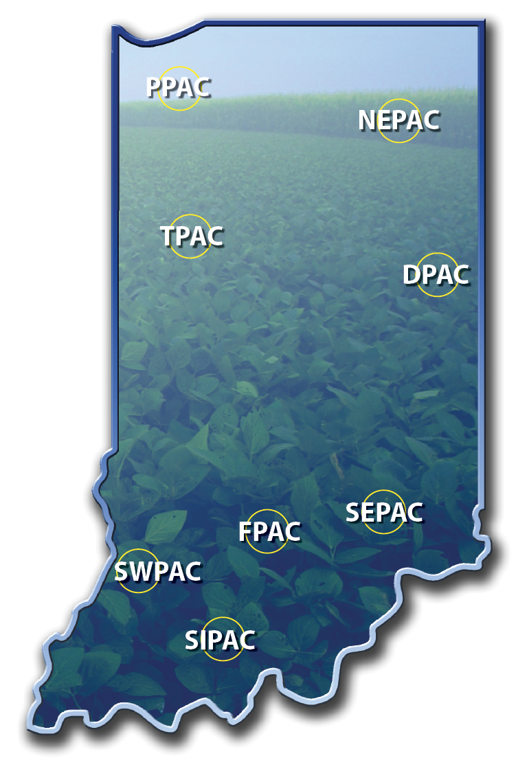 map of all pac sites across indiana